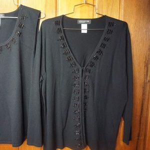Jones New York Knit Top Blouse and Sweater Jacket